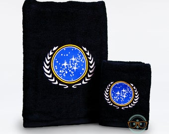Star Trek Bath Set - United Federation of Planets - Bath Towel and Hand Towel Set - Geeky Embroidered Bathroom Towel Decor