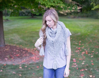 Everyday Triangle Scarf | Heather Gray | Crochet Triangle Scarf with Tassels