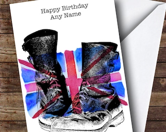 Military Boots & Union Jack UK Flag Personalised Birthday Card