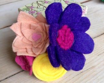 Handmade Purple, Yellow. Pink & Peach Felt Flower Bouquet Hair Clip Accessory