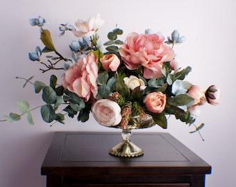 Silk flower arrangement, Peonies, Eucalyptus Flower Arrangement, Spring Thanksgiving Arrangement, Mothers Day Centerpiece Housewarming