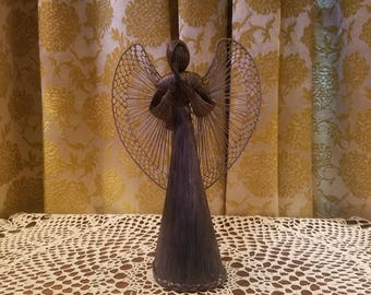 Vintage Handmade Angel Tree Topper, Victorian Romantic Cottage, 10 inches