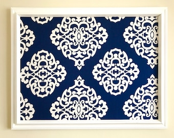 Navy Blue White Damask Fabric Covered Pin Board Jewelry Board Bulletin Board