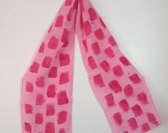hand dyed silk scarf in pink with even pinker painted rectangles