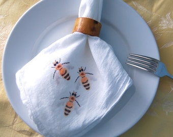 Bumble Bees Napkins Flour Sack Dining Decor Set of 2 Naturalist Bee Keeper Theme Gardener Illustration