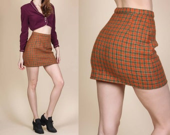 60s Plaid Mini Skirt - Extra Small // Vintage High Waisted Wool Miniskirt