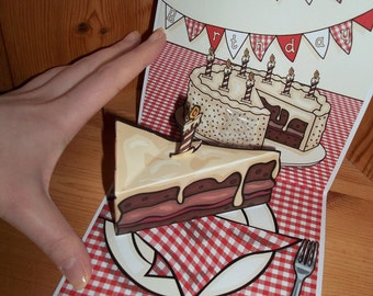 Slice of Cake pop up birthday card