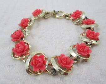 Shabby Chic Vintage Roses Bracelet with Gold Tone Setting and Coral Roses