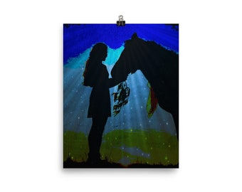 Native American Girl with Horse Poster