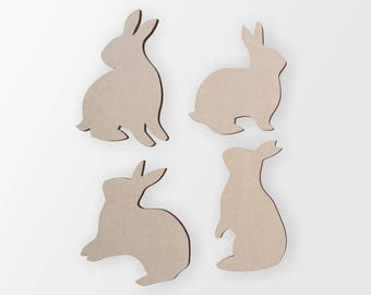 Wooden Bunny Rabbit Silhouettes (3 Bunny Rabbits)- Cutout, Home Decor, Unfinished and Available from 12 to 42 Inches Tall