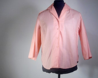 Deadstock Secretary Blouse 1950s Spring Fashion Pastel Pink Button Up Vintage Shirt NOS