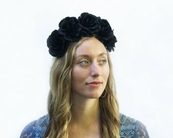 Black Rose Flower Crown, Black Flower Crown, Black Rose Headband, Black Floral Headpiece, Black Rose Crown, Flower Crown, Bohemian Fashion