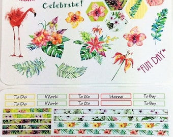 Tropics Weekly Planner Stickers - Decorative 2 Page Set - for Inkwell Press, Erin Condren and other horizontal and vertical planners