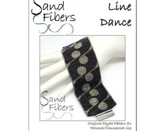 Peyote Pattern - Line Dance Peyote Cuff / Bracelet  - A Sand Fibers For Personal/Commercial Use PDF Pattern