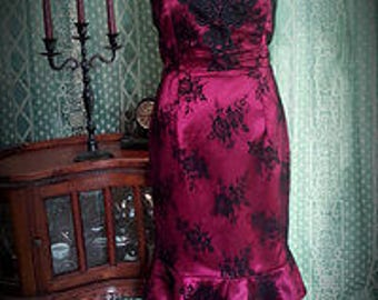 SALE 1950s wiggle dress, Victorian dress, Gothic dress, wine black lace, Vampire, Christmas size 10 ready to ship