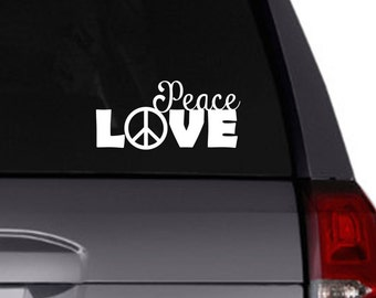 Peace Love vinyl decal/car decal/tumbler decal/peace sign
