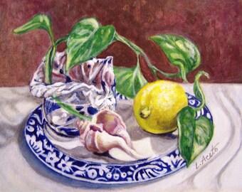 Summer Plate, 8x10 acrylic still life