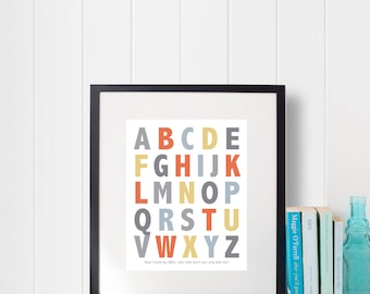 Instant Download: Digital 8x10 nursery print ABCs alphabet in Four colorways