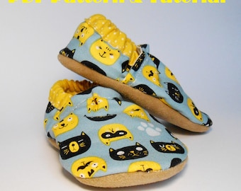 Baby Shoes Pattern  - PDF Sewing Pattern and tutorial, Size 0-3, 3-6, 6-12, 12-18, 18-24 month
