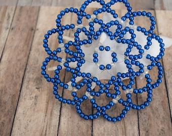 Women Blue Kippah - Jewish Head Covering - Bat Mitzvah Kippah - Blue Beaded Kippah - Temple Head Covering.