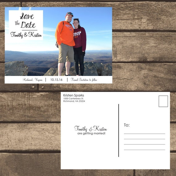 printable pdf front back save the date postcard w photo