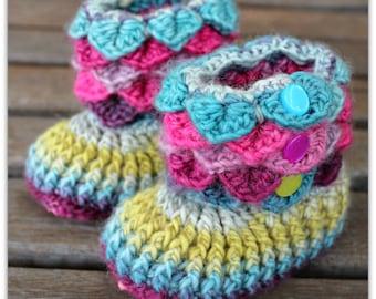 Non Slip Crochet Crocodile Stitch Baby Rainbow Slippers, Booties, Rainbow,  Size 12-18 months, Merino wool, booties, gift, handmade