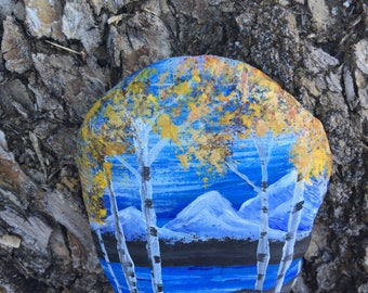 Aspens, hand painted rock, mountains, aspens in the mountains, office decor, paperweight, teacher gift
