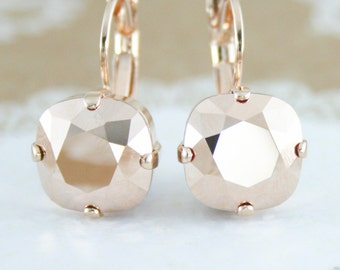 Rose gold earrings,rose gold wedding jewelry,rose gold accessories,Swarovski,Rose gold,12mm square,square earrings,bridal earrings,leverback