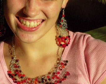 Fabulous Red Knitted Wire Necklace and Earring Set PDF Pattern -Make one today