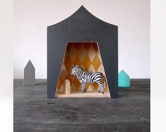 Circus shelf, plywood childrens furniture, black ,Kids room decor, ooak handmade gift