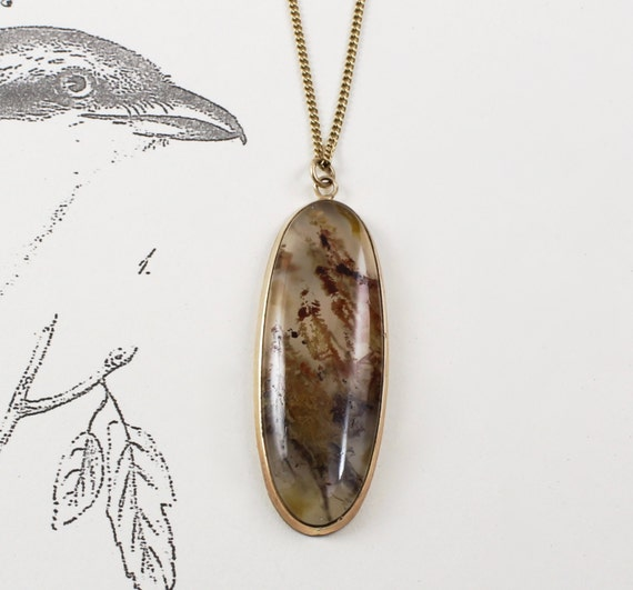 Antique 14k moss agate pendant victorian dendritic agate antique 14k moss agate pendant victorian dendritic agate talisman necklace rustic nature lover friendship gift jewelry aloadofball Images
