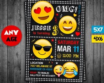 Emoji Invitation, Emoji, OMG Invitation, Emoji Party, OMG Party, Emoji Invite, Emoji Birthday, Emoji Card, OMG