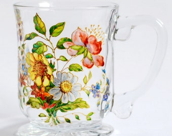 Coffee Mug Gift. Tea cup. Vitrage. Wildflowers flowers Present. Milk cup