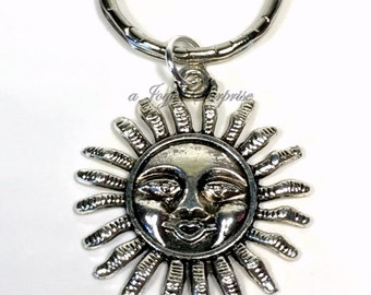 Sun Keyring, Sunshine Key chain, Silver Sunny Charm, Solar Present, Space Accessories, Happy Gifts Smiling Keychain Summer Spring solar fun