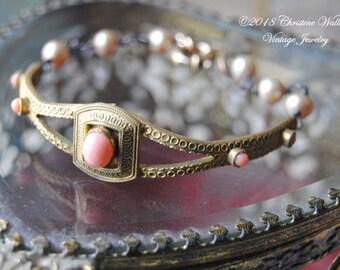 Salmon Coral Wrist Garland--Vintage Nouveau Salmon Glass Brooch Coral Cabochon Freshwater Pearl Stacker BRACELET