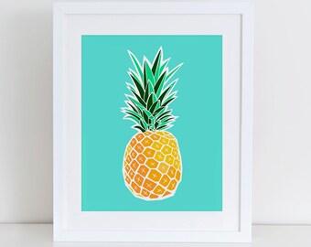 Pineapple Art Print, Printable Pineapple, Pineapple Print, Instant Download,  Printable Home Decor, Digital Art Print, Tropical Art Print