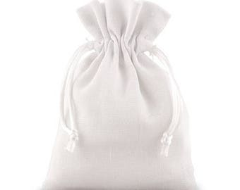 White Linen Drawstring Wedding Favour Bag - Pack of 6