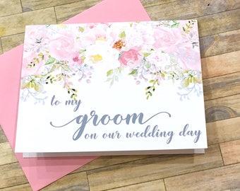 to my groom on our wedding day - card for man of my dreams - card from bride - wife - husband - blush wedding keepsake - SECRET GARDEN