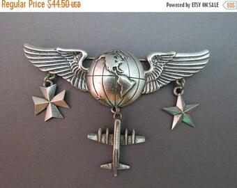 ON SALE Rare JJ Jonette 1988 Silver Pewter Tone Brooch Airplane Jet Globe Wing World Figural Pin