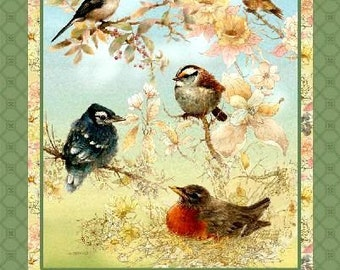 "May all your Dreams Take Flight -  Birds/Hummingbirds Pastel Cotton 24"" FABRIC PANEL"
