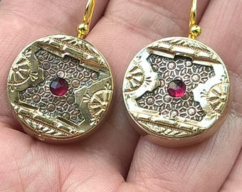 Antique 1800's Victorian Attractive Unusual Design Gold Plated Ruby? Dangle Earrings