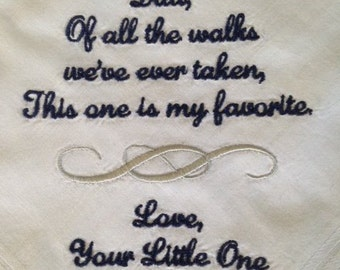 Father of the Bride Handkerchief - wedding hankerchief - dad hankie