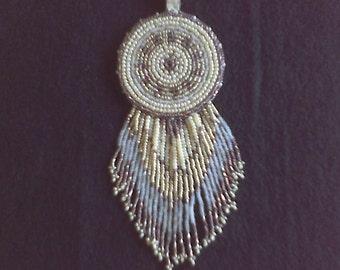 Beaded medallion and earrings set