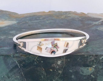 """Taxco Mexico 925 Sterling Silver 6-5/8"""" Vintage Hinge Bracelet White Enamel Abalone Shell Inlay T74"""