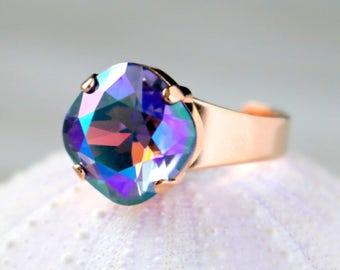 Tanzanite Glacier Blue   Swarovski Ring   Beach Jewelry   Rose Gold   Square Cushion   Gift For Her   Bridal Jewelry   Wedding Jewelry