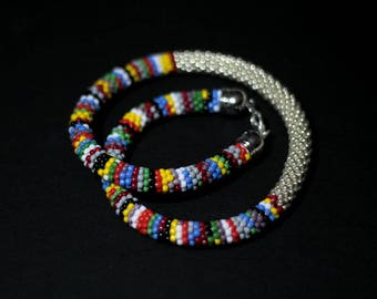 Multicolor Striped Necklace, Silver Bar Necklace, Bead Crochet Necklace, Colorful Ethnic Rope Necklace, Snake Necklace - MADE TO ORDER