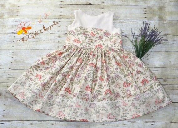 Girls Linen and Floral Easter Dress - Purple and Coral Floral Dress w Antique Style Lace -Ivory Lace Easter Dress - Girls Easter Dress