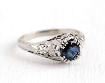 Sapphire Engagement Ring - Antique Platinum Filigree Diamond Wedding - Size 6 3/4 Vintage 1920s 1.10 CT Blue Gemstone Filigree Fine Jewelry