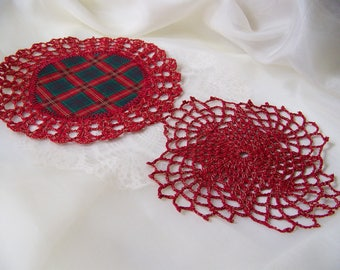 Red Crochet Doilies, Doily Set, Hand Crochet, Lace, Sparkly, Gold Flecking, Plaid, Centerpiece, Home Decor, Christmas, Ready to ship