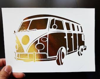 Oops Item - Volkswagen Hippy Van Camper - 5 x 7 inch Gold Foil Print